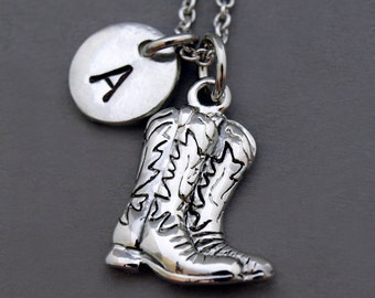 Cowboy boots necklace, cowgirl boots necklace, initial necklace, antique silver pewter, initial hand stamped, personalized, monogram