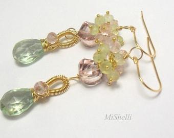Gemstone Gold Dangle Earrings Green and Pink Quartz,  Amethyst, and Prehnite