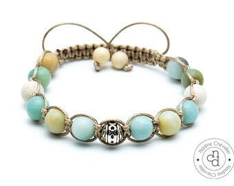 Shamballa bracelet / Gemstones Amazonite 8mm beads / Fossil beads 8mm / Adjustable bracelet