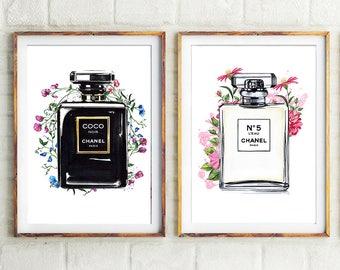 Set of 2 Chanel, Chanel perfume, Set of 2 prints, Chanel Noir, fashion illustration, Chanel print, Chanel illustration, Coco Chanel art