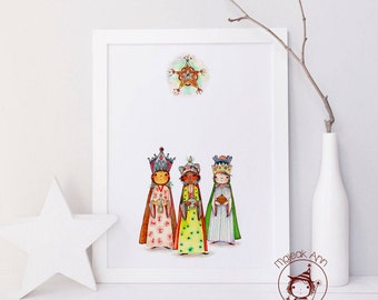 The Magi - Los Tres Reyes Magos - Three Wise Men - Fine Art Print - Home Decor - Magical Wall Art