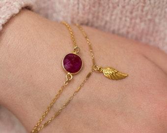 Angel Wing Bracelet, Angel Bracelet, Gold Angel Bracelet, Gold Wing Bracelet, Dainty Bracelet, Simple Bracelet, Charm Bracelet, Boho