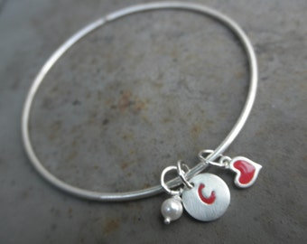 Customized Enamel bangle bracelet with initial tag, heart and tiny swarovski pearl