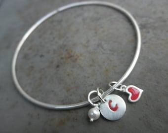 Customized Enamel bangle bracelet with initial tag, heart and tiny swarovski pearl