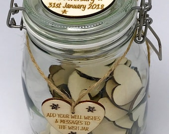 Personalised Anniversary Wish Jar - Anniversary Guest Book - 100 Blank Hearts or 50 Blank Hearts