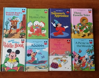 Walt Disney's Wonderful World of Reading Mickey Mouse set of 8 books. Matte covers vintage Disney Children's picture and story books.