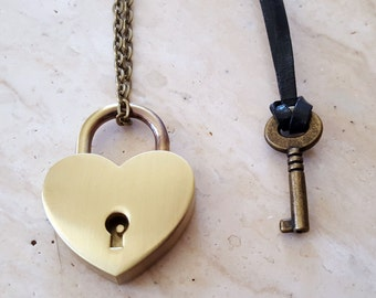 Bronze Heart Lock and Key Couples Necklace - Real Working Lock Pendant - Couples Jewelry - Jewelry Set