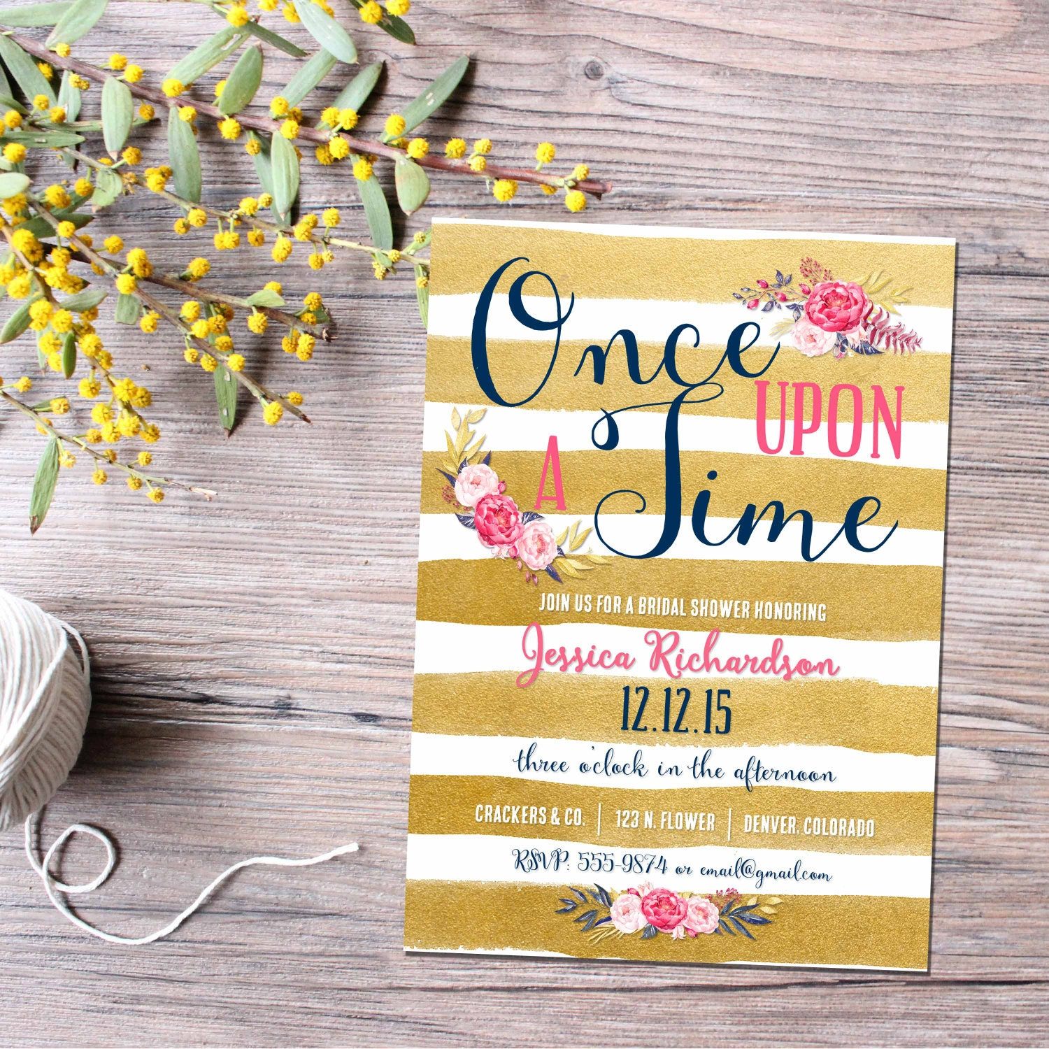 Storybook baby shower invitation Once upon a time baby shower Gold