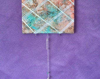Handmade Bulletin Board -- Green And Blue Tie Dye Material -- Message Board Wall Hanger