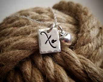 Love XO Sterling Silver Charm Necklace