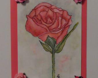 Rose Card Watercolor Rose Card Watercolor Greeting Card Watercolors Hand Painted Cards Watercolor Roses