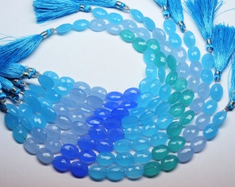 AAA-8 Inch-10X14mm All Pairs Multi Color Chalcedony Quartz Faceted Oval Shape Briolette Beads-15 Beads Approx/Strand