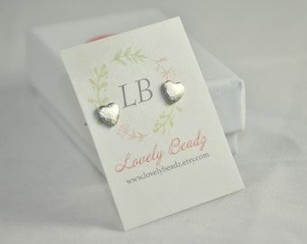 Heart studs, Cute heart earrings, Silver heart studs, Silver heart earrings, Heart silver earrings, Tiny heart earrings