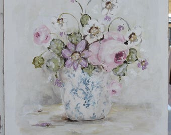 Original Shabby Chic Style Rose Painting on Board