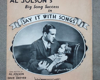 Antique sheet music - 1929 - Al Jolson - One Sweet Kiss