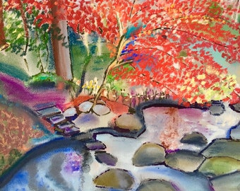 Giclee Print From Original Pastel-The Red Tree-Neo Impressionism-Abstract Landscape