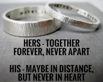 Personalized Couple Rings - Solid Sterling, His n Hers, Promise Rings, Wedding Rings, Anniversary Rings, Personalized, Stamped