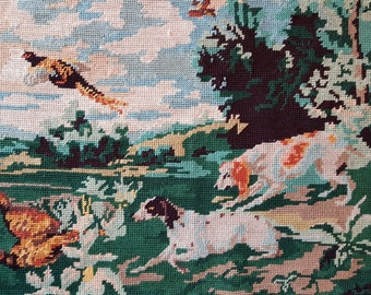 Vintage French needlepoint tapestry - Hunting dogs - Dog needlepoint - Finished needlepoint