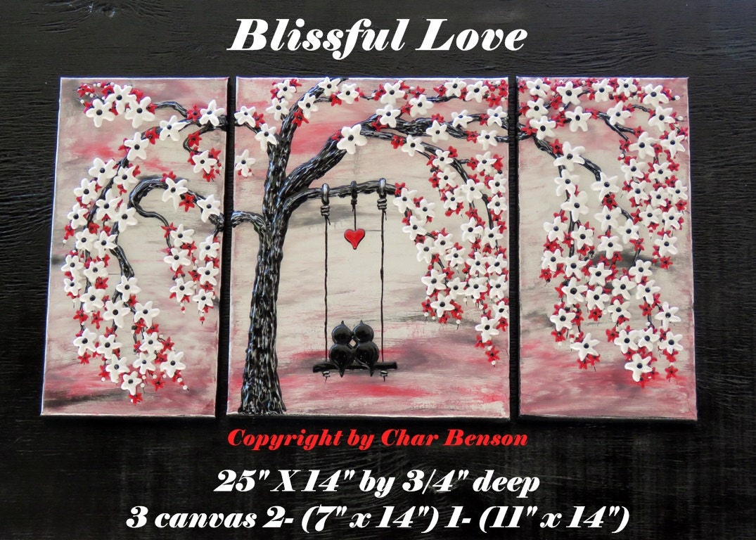 Cherry Blossom Tree With Love Birds Swinging In Red And White Blossoms Original Painting The Of Canvas