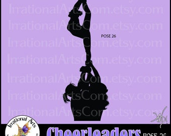 Cheer stunt team Silhouettes Pose 26 - 1 EPS & SVG Vinyl Ready files and 1 PNG digital file and commercial license [Instant Download]