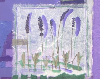Garden Tour-Collage with handmade papers, real lavender blossoms and acrylic paint