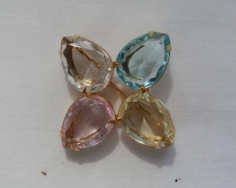 Vintage Avon Teardrop Multi Colored Pastel Rhinestone Brooch Pin