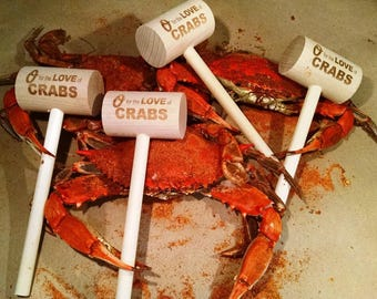 O for the Love of Crabs - set of four crab mallets  -  Maryland Gifts, Baltimore Crab Mallets, Mallet, Love Crab, Crab Knocker, Hostess Gift
