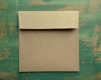 "25 Square Envelopes, 5"", 5.25"", 5.5"" or 5.75"" (127, 133, 140, or 146mm) kraft brown, recycled envelopes, sticker flap adhesive, eco friendly"