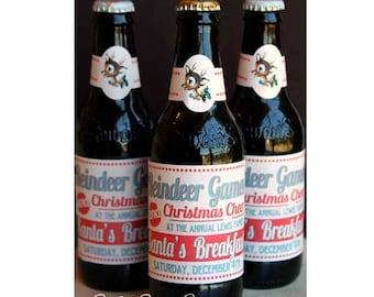 Reindeer Games Glass Bottle Labels by Loralee Lewis