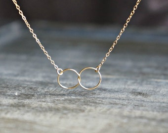 Entwined Circle Necklace / Gold Linked Infinity Rings on a 14k Gold Filled Chain • interlocking eternity circles • couple best friends bff
