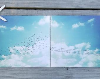 "Bird Wall Art | Contemporary Art Poster Print Set of Two 12"" x 12"" | Bird Wall Art Decor | Rest and Away | Blue Nature Photography Prints"
