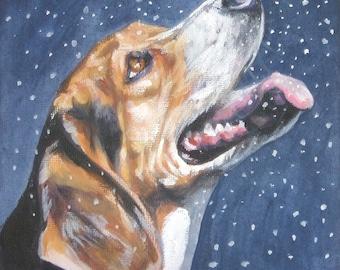 Beagle Dog art print Canvas print of LA Shepard painting 8x8 dog art
