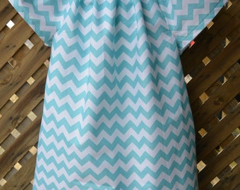 Teal Chevron Toddler Dress