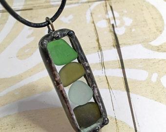 Sea Glass Pendant, Beach Glass,  Soldered Charm Shadow Box Pendant, Genuine Seaglass, Cobalt Blue, Amber, Seafoam Green