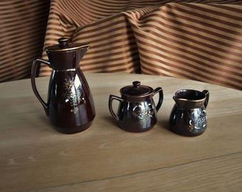 Vintage Japan Redware Brown Moriage 3 Piece Tea and Coffee Set – Teapot, Creamer, Sugar Bowl