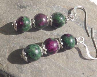 Ruby in zoisite cascade earrings