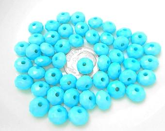 50 Aqua Acrylic Beads 8MM spacers (H2299)