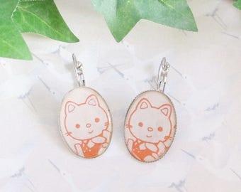 Earrings red kitty cat on white Japanese paper, cat, red cat earrings, gift for her