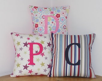 Letter cushion, initial pillow, personalised girls gift, gift for girls and boys, bedroom cushion, alphabet cushion