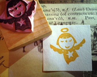 Angel rubber stamp//hand carved rubber stamp