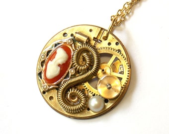 "Victorian Cameo Steampunk Necklace ""Steampunk Memories"""