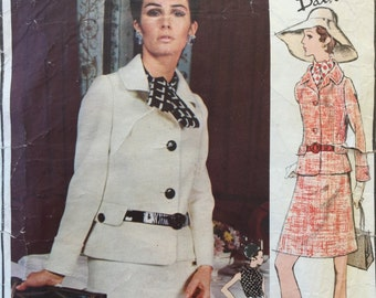 60s Pierre Balmain Suit, Paris Original Sewing Pattern 2252,  Cut, one small interface piece missing, Size 10,Bust 32.5in