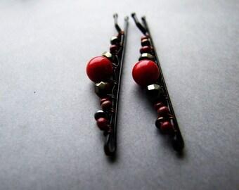 Bloody Red Bobby Pins, Adorable Red Hair Pins, Boho Hair Pins, Dark Red Black Bobby Pins Set