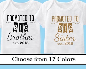 Promoted to Big Sister or Brother -Vinyl Iron On decal Choose your Color- Glitter or Matte