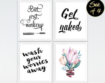 Bathroom Prints, Set Of 4 Prints, Bathroom Printable Art, Bathroom Printable, Printable Art Set, Printable Quotes For Bathroom, Bathroom Art