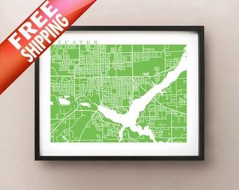 Decatur, IL City Map Print
