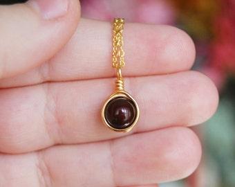 Maroon Necklace , Bridesmaid Necklace , Dark Maroon Necklace , Swarovski Pearl Necklace