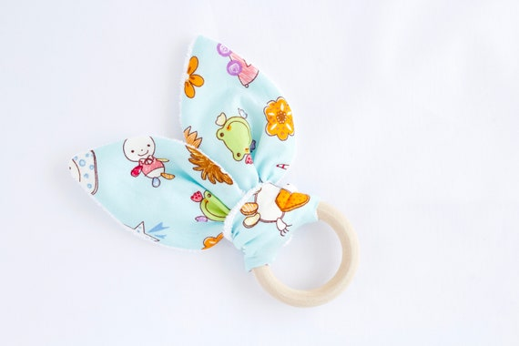 Bunny ear Teether, blue toy animal print