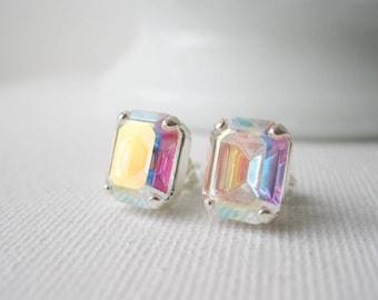 Aurora Borealis Post Earrings, AB Studs, Rhinestone Crystal, Rainbow Earrings, Square Studs, Silver Plated, Vintage Swarovski Elements