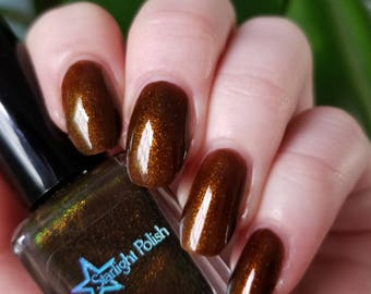 Dragon Dravite Brown Duochrome Color Shifting Gold to Green Indie Nail Lacquer Starlight Polish Liquid Euphoria